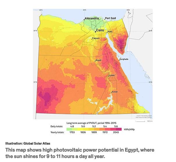 egypts solar power maps