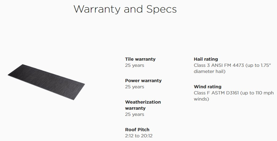 tesla solarroof Warranty and Specs